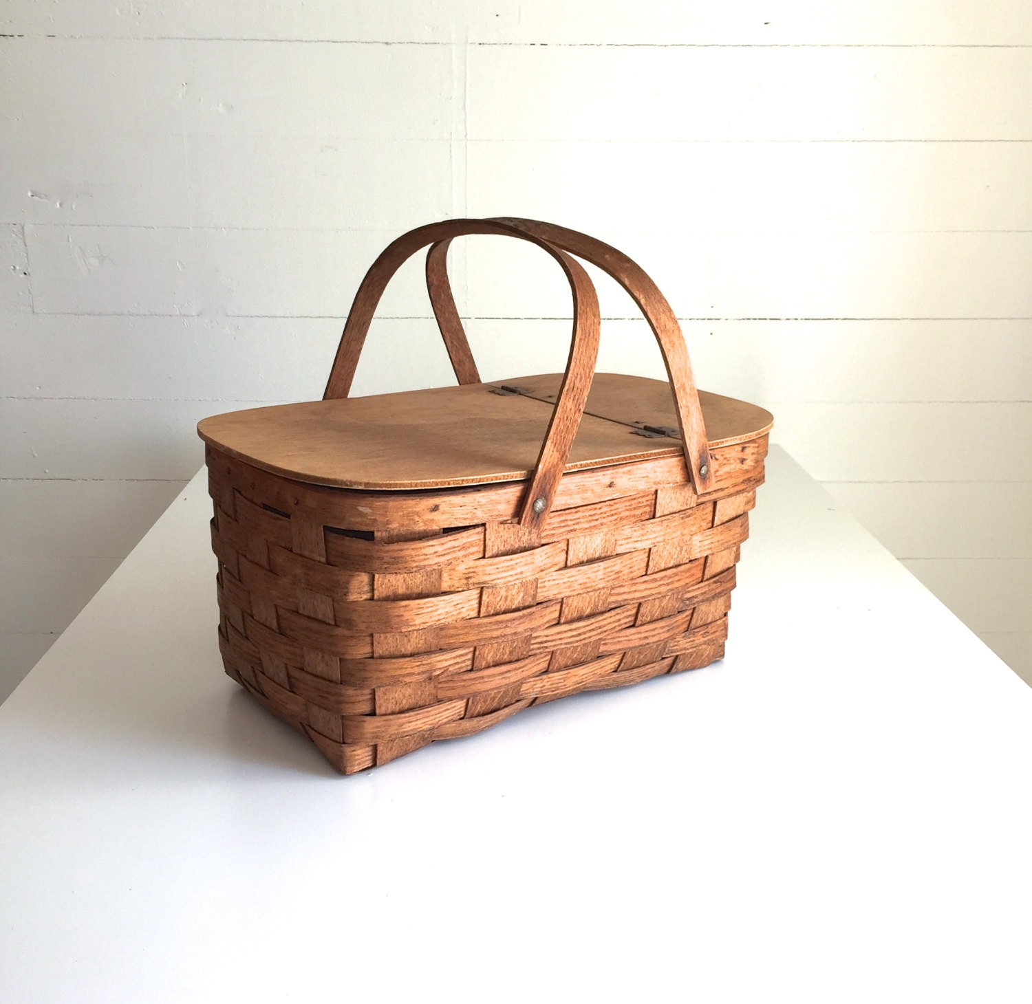How To Weave A Cedar Basket : Vintage picnic basket wood weave wooden handles flip