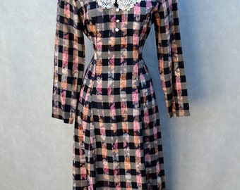 Long Sleeve Checker and Floral Dress with Lace Peter Pan Collar.