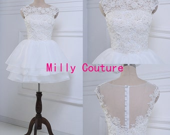 Princess open back Knee length wedding dress with floral bodice and organza skirt