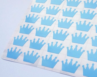 60 Blue Crown Stickers, Crown Planner Stickers, Crown Envelope Seal, Crown Party Stickers, Crown Baby Shower Stickers,Crown Birthday Sticker