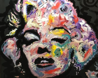 Art Painting of Marilyn Monroe Art by Matt Pecson Pop Art Painting on Canvas Wall Art Canvas Painting Urban Art MADE TO ORDER