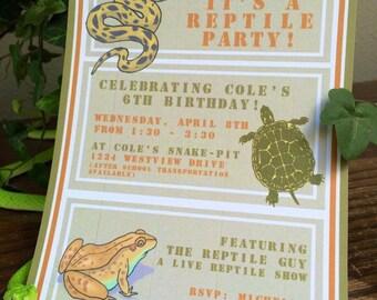 Reptile Birthday Party Invitations - Printable Reptile Invitations - Live Reptile Party Birthday Invitations - Printable PDF File