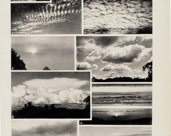 1940s Vintage meteorology print. clouds