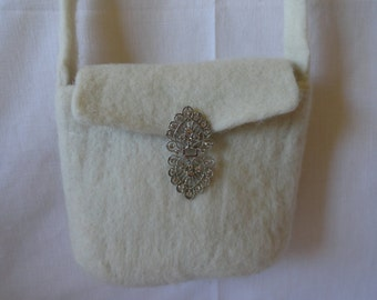 Needle Felted  White Bridal Wool Purse Handmade