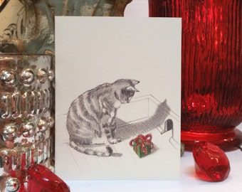Tabby Cat Holiday Card