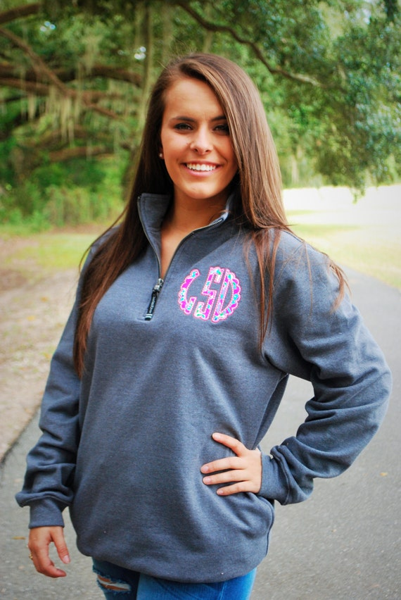 preppy quarter zip pullover sweatshirt with scalloped lilly