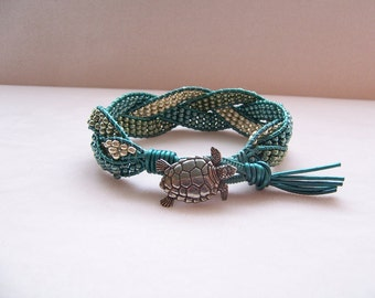 Sea Turtle Beaded Braided Leather Wrap Cuff Bracelet, Beaded Leather Cuff, Sea Turtle Bracelet, Sea Turtle Jewelry, Leather Jewelry