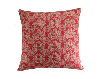 Pink Damask Cushion Cover, Rosy Pink Cushion, Decorative cushion, Pink Pillow, Damask Pillow Cover