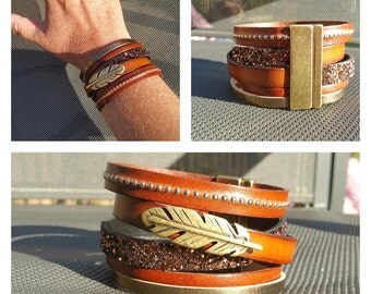 """Cuff leather collection """"Pen"""", Brown"""