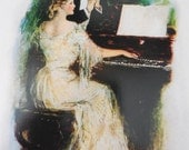 Victorian 'Spellbound' Wedding Greeting Card Young Woman Playing Piano Romance Romantic Victorian Greetings