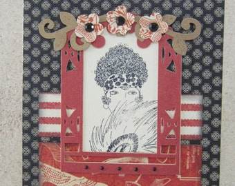 Vintage Glamour Handmade Note Card