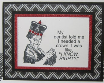 Queen of Knitting Handmade Note Card