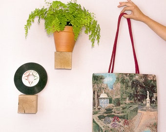 tote bag garden French and jute - cherry