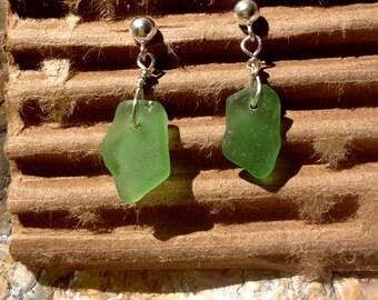 Green Beach Glass Earrings 4