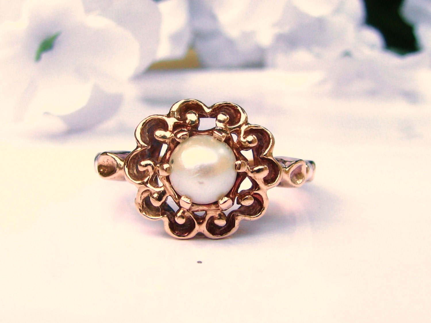 Vintage Pearl Engagement Ring 10K Yellow by LadyRoseVintageJewel