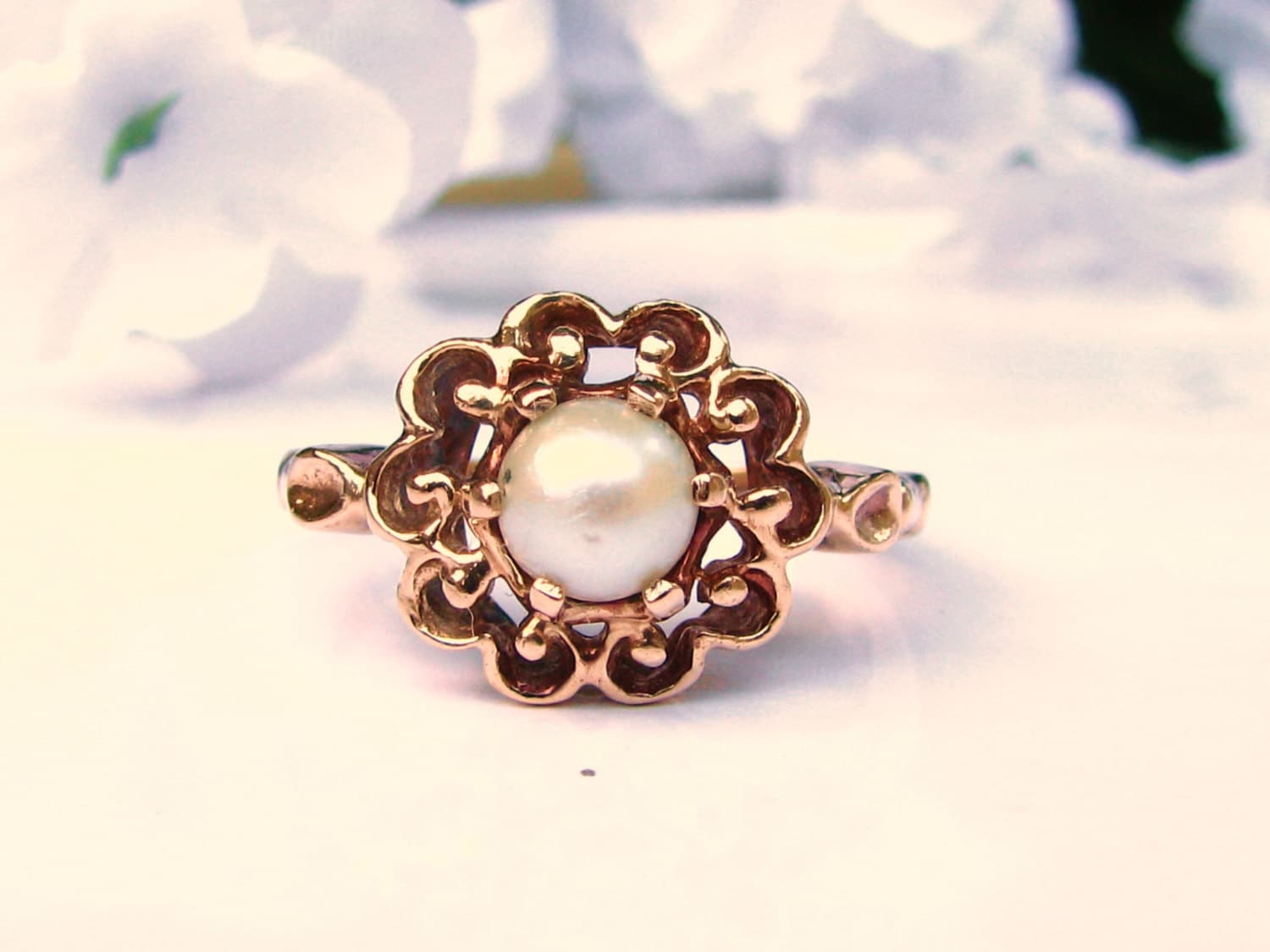 vintage pearl engagement ring 10k yellow by
