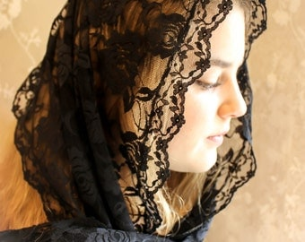 Evintage Veils: Soft Black French Lace  Head Covering Chapel Veil Mantilla Lg. Rectangle