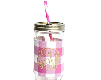 Fuchsia Plaid Mason Jar Tumbler, Monogram Mason Jar Cup, Gifts for Her, Unique Gifts, Gifts Under 25, Monogram Gifts, Personalized Gifts