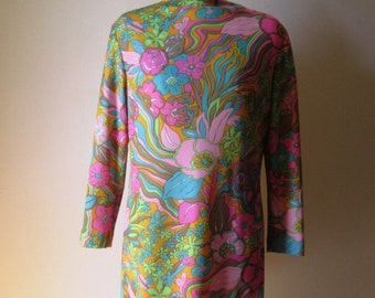 Fantastic 1960's Psychedelic Print Dress/Sock-It-To-Me/Goldie Hawn/Laugh-In/Med   #15072