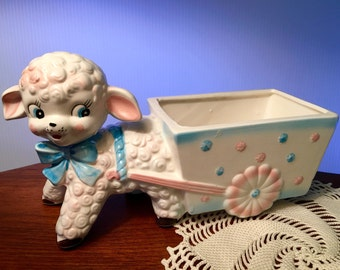 Vintage ceramic lamb with cart planter by Relpo for nursery
