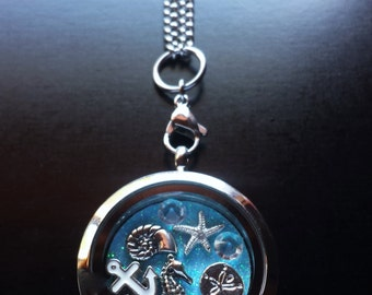 Ocean Life Floating Locket Necklace-Includes Locket, Chain, Charms, & Window Insert-Great Gift Idea
