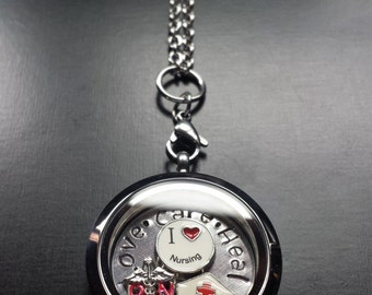 Love, Care, Heal Nurse Floating Locket Necklace-Includes Locket, Charms, Window Plate & Chain-Gift Idea