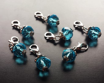 Teal Blue Crystal Dangle/Charm for Floating Lockets and Necklaces-Gift Ideas for Women