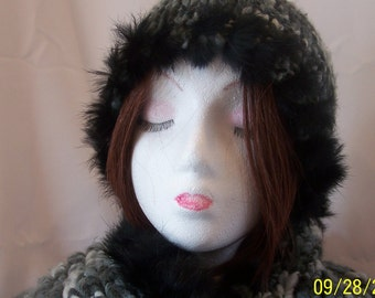 1980's Wool Hat and Scarf Trimmed with Real Rabbit Fur