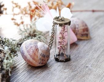 Bottle necklace, real flower necklace, mothers day gift, terrarium necklace, fairytale gift, boho neckalce, plant necklace, dainty pendant