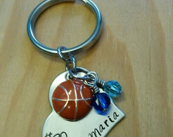 Hand Stamped Personalized Basketball Keychain - Girls Basketball Gift - Basketball Gifts - Basketball Senior Gift  Basketball Gift for Girls