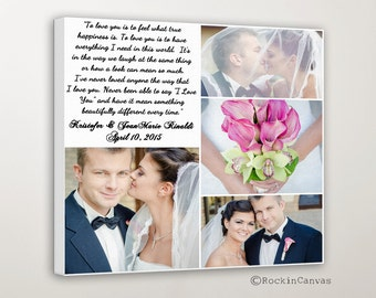 Family Collage, Wedding Vows Holiday Gift For Mom Mother Personalized Wedding Pictures Gift Photo Collage Canvas Words Text Quote Sayings
