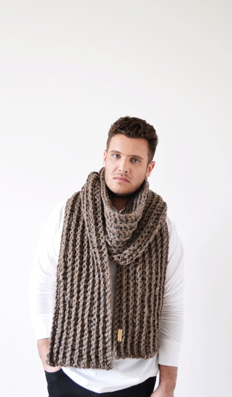 Knitting Mens Scarves : Mens scarf men s knit unisex big by