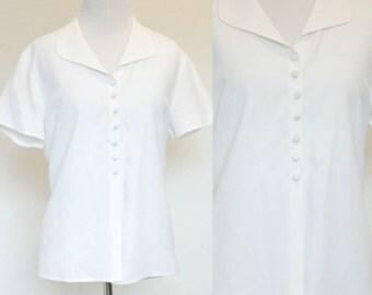 SALE Vintage White Rayon Blouse// Ann Taylor Short Sleeve Top// Classic Button Down// Size Large White Blouse