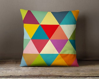 Geometric pillow cover with colourful and big triangles ,geometric pillow cover,modern,decorative pillow,living room decor,geometric cushion
