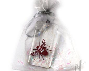 Bee Fused Glass Dangle, window hanging, wall art, apiarist, bee keeper gift, gardener gift