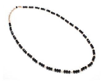 Black Swarovski Necklace/ Black Rosary Necklace/ Black Crystal Rosary/ Black Chain Necklace / Long Rosary necklace