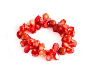 Coral Petal Bracelet/ Teardrop Coral Bracelet/ Coral Gemstone Bracelet/ Red Gemstone Bracelet