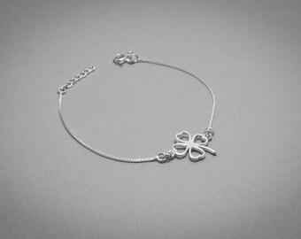 4 Clover Bracelet/ Lucky Charm Bracelet/ 4 Leaf Clover Silver/ Shamrock Bracelet/ Lucky Clover Jewelry