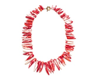 Chili Pepper Coral Necklace/ Red Coral Necklace/ Red Horn Necklace/ Chunky Coral Necklace/ Coral Spike Necklace