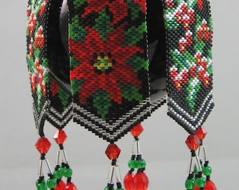 Poinsettia and Holly Beaded Ornament