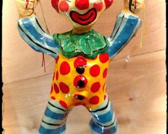 Collectible Paper Mache Parachuting Clown / Hand Crafted Clown / Birthday Decor / Collectible Clown / Clown Mobile / Circus Decor /F909