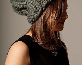 Ready to ship! GREY DUBLIN hat...Vegan knit hat, hand knit, chunky knit, knit toque, knit beanie, knit hat, vegan knit, vegan gift.
