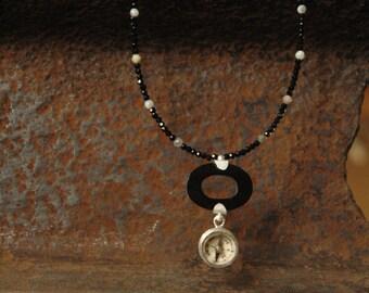 Unique antique necklace with compass