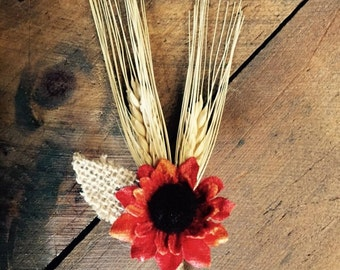 Red OR Yellow - Simple Fall Rustic Sunflower Boutonniere with Wheat and Burlap Leaf