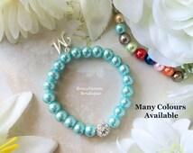 Blue Bracelet-Blue Girl Bracelet-Pink Girl Bracelet-Baby Bracelet-Girl Bracelet-Flower Girl Bracelet-Glass Pearl Rhinestone Initial Bracelet