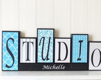 Custom Letter Blocks, Wood Name Blocks, Routed Edge, Office Decor, Home Decor, Studio Decor