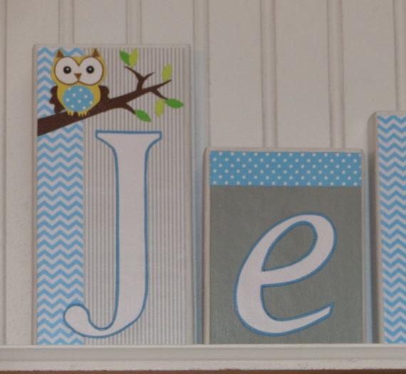 Owl Baby Name Blocks Home Decor Nursery Baby Name Block Decor Baby