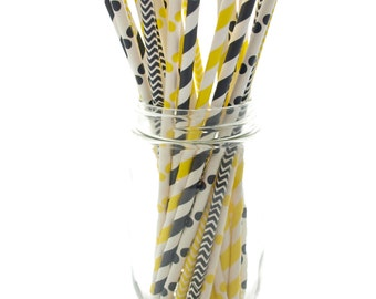 Bumblebee Black & Yellow Straws (25 Pack) - Bee Stripe, Chevron, Polka Dot Paper Party Drinking Straws