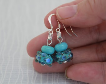 Earrings, Aqua Blue Bubbles Earrings – Dangle Earrings, Glass Lampwork Earrings, Sterling Silver Earrings, Aqua Glass Beads, One Of A Kind