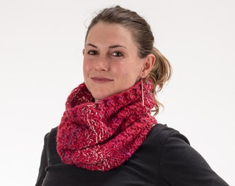 Chunky Knit Cowl, Scrunchy Scarf, Cherry Red with Multicolored Accents, Pure New Wool, Cotton, Silk - 154